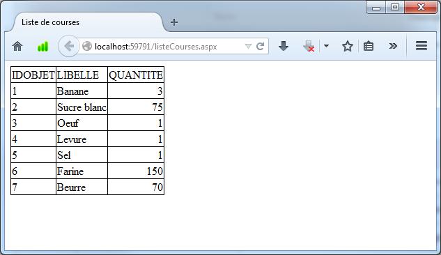 Réalisation d'application Web simple en ASP NET